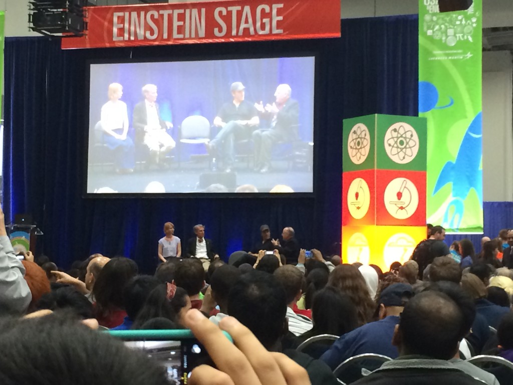 Bill Nye and Mike Rowe on the Einstein Stage