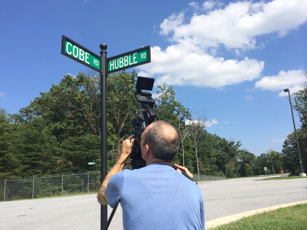 Filming some street signs on the Goddard campus