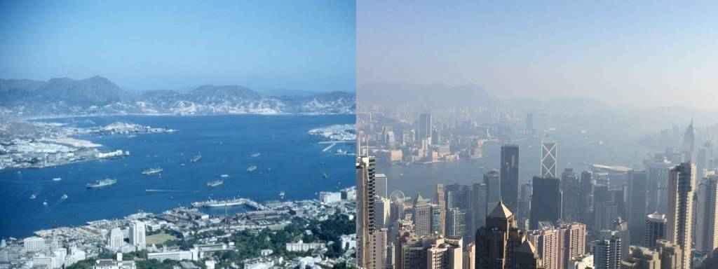 My grandpa's picture of Hong Kong from 1955, and my picture from 49 years later